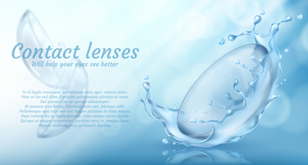 realistic promotion banner with contact lenses in water splash for eye care on blue background. Medical accessory used in ophthalmology to correct vision. Mockup for product ads, package design Banque d'images - 111632960