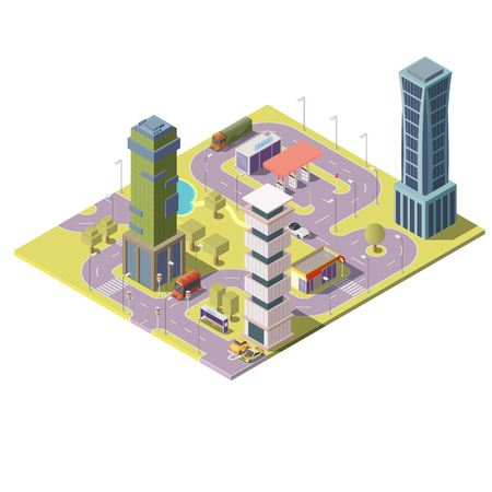 3d isometric map of city with buildings, skyscrapers, streets with road signs, transport. Modern cityscape, town infrastructure with elements for infographic, urban concept illustration