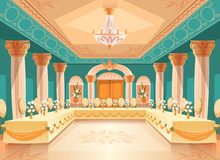 hall for banquet, wedding. Interior of ballroom with tables, chairs for feast, celebration or royal reception. Big room with chandelier, columns, pillars in luxury medieval palace Archivio Fotografico