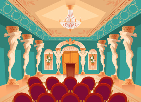 dancing hall with atlas pillars and armchairs for audience, spectators. Interior of ballroom with titan, atlant columns for presentation or royal reception in luxury medieval palace.