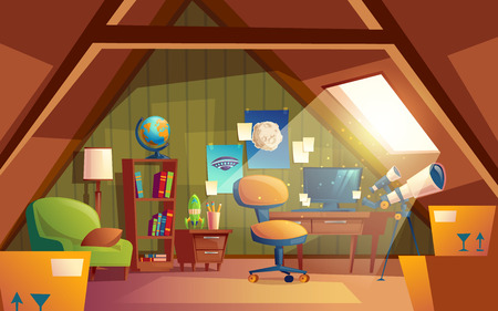 attic interior, children playroom with furniture. Cozy cartoon room under roof with telescope, posters, armchair, table, bookshelf. Architecture background of garret, mansarda.