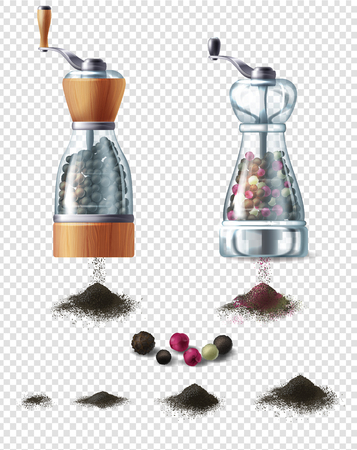 set of spice mills with handles and handfuls of ground black pepper, isolated on background. Glass containers filled with various peppercorns, equipment for grind and prepare spicy seasoning Imagens