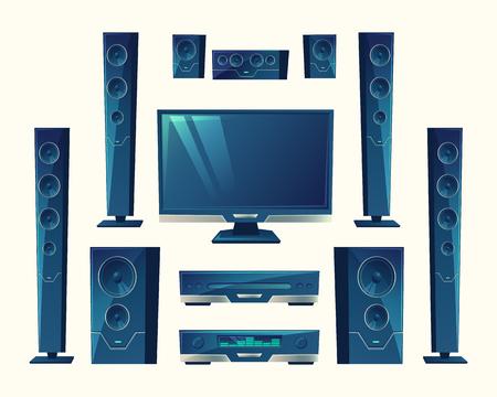 home theater, impianto audio video, apparecchiature acustiche, tecnologia stereo. Amplificatore elettronico, suono surround hi-fi. Altoparlanti, subwoofer, lettore multimediale in stile cartone animato isolato su sfondo