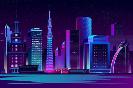 Modern city cartoon vector night landscape. Urban cityscape background with skyscrapers buildings on sea shore illuminated with neon light illustration. Metropolis central business district Vettoriali
