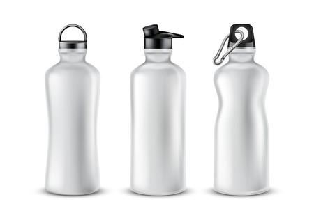 Vector set of blank plastic bottles with lids for drinks, isolated on background. Mockup with aluminum containers for energy cocktails, flask with fresh water for sport activities, jogging, yoga