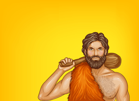 Vector pop art caveman in fur loincloth, wooden club isolated on yellow background. Strong male character of prehistoric, stone age. Illustration for ad poster, promo banner