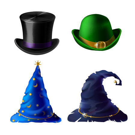 Vector set of Halloween clothing isolated on white background. Top hat for magician, bowler for Irish leprechaun. Blue cap for stargazer, headdress for witch. Traditional costumes for autumn holiday.