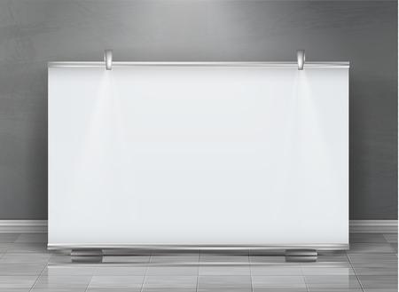 Vector realista roll up banner, soporte horizontal, cartelera en blanco para exposiciones y presentaciones de negocios, aislado sobre fondo gris. Maqueta con pizarra, pantalla enrollable para anuncios comerciales Ilustración de vector