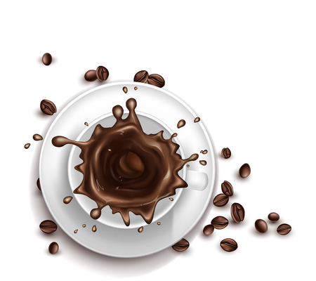 Vector 3d realistic cup of coffee with splashing drops. Saucer with beans isolated on white background. Top view of arabica drink or americano. Mock up, template for ad poster, banner