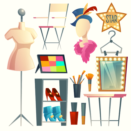 Vector cartoon actress, actor s dressing room. Collection with furniture, clothing and hanger with costumes. Table with light bulbs and mirror. Makeup and brush for theatrical performance.