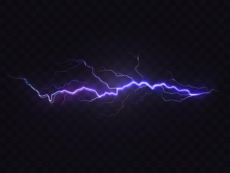Rayo realista vector aislado sobre fondo negro. Efecto de luz natural, brillante brillante. Tormenta mágica púrpura, elemento de diseño