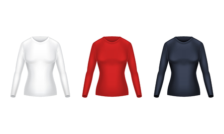 Vector realistic set of blank shirts with long sleeves, female casual clothing, warm sweatshirts to wear on top of body, isolated on white background. Mockup for clothes design, front view