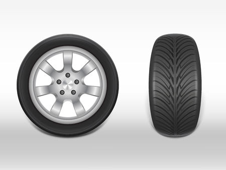 Vector 3d realistic black tyre in side and front view, shining steel and rubber wheel for car, automobile, isolated on white. Modern rim, tread - automotive equipment for mechanic shop, service.