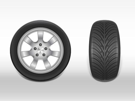 Vector 3d realistischer schwarzer Reifen in der Seiten- und Vorderansicht, glänzendes Stahl- und Gummirad für Auto, Automobil, lokalisiert auf Weiß. Moderne Felge, Lauffläche - Kfz-Ausrüstung für Werkstatt, Service. Vektorgrafik