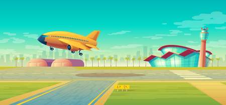 Vector landing strip, takeoff of the plane. Terminal, control room in tower. Asphalt runway for passenger transportation, landscape with hangar, building. Travel concept, background for poster