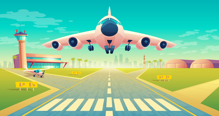 Vector takeoff of the plane on a landing strip for airplanes near of terminal, control room in tower. Asphalt runway - crossroad for passenger transportation, landscape with hangars, buildings. Векторная Иллюстрация