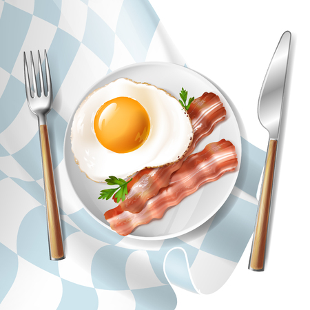 Vector 3d realistic illustration of fried eggs with roasted bacon strips and green parsley, isolated on background. Fresh morning breakfast on white plate, light meal, natural healthy food Vector Illustratie