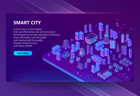 Site de vecteur avec mégapole isométrique 3d, ville aux couleurs violettes. Portail réseau avec bouton. Collection de maisons, gratte-ciel, bâtiments avec éclairage ultraviolet sur fond Vecteurs