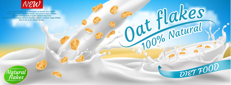 Vector realistic promotion banner of oat flakes in milk or yogurt splashes. Natural cereals, healthy diet food for morning breakfast. Mockup for brand advertising, product packaging design Illustration