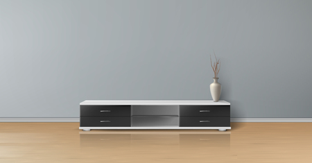 Vector realistic mockup of empty room with flat gray wall, wooden floor, tv stand with black drawers and vase. Studio with minimalistic interior. Template for your creative design and presentations