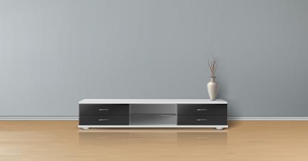 Wektor realistyczna makieta pustego pokoju z płaską szarą ścianą, drewnianą podłogą, stojakiem pod telewizor z czarnymi szufladami i wazonem. Studio o minimalistycznym wnętrzu. Szablon do kreatywnego projektu i prezentacji