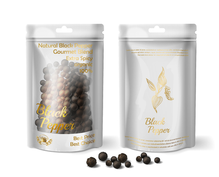 Vector 3d realistic package of black pepper isolated on white background. Mock up for natural product, condiment. Fresh herbal spice for food in white sachet, bag Vettoriali
