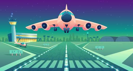 Vektorkarikaturillustration, weißes Verkehrsflugzeug, Jet über Start- und Landebahn. Start oder Landung eines kommerziellen Flugzeugs vor dem Hintergrund des blauen Nachthimmels oder des Flughafengebäudes mit Lichtkontrollturm. Konzeptbanner