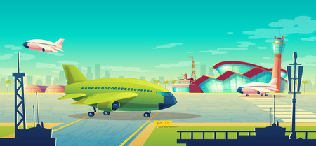 Vector cartoon illustration, green airliner, jet on runway. Takeoff or landing of commercial airplanes against background of blue sky or airport building with control tower. Concept advertising banner Ilustração