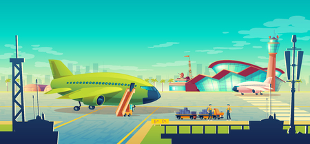 Vector cartoon airport landscape, green airliner, jet on runway. Loading of luggage on commercial airplane with passenger ladder on background of building with control tower. Concept banner Illustration