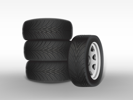 Vector 3d realistic black tyre stacked in pile, shining steel and rubber wheel for car, automobile, isolated on white. Modern rim, tread - automotive equipment for mechanic shop, service. Vektorové ilustrace