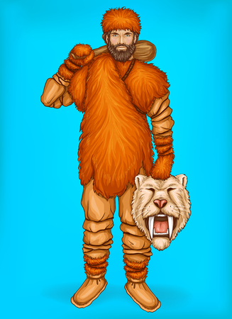 Vector pop art caveman in fur pants, clothes and footwear. Hunter holds wild animal head, prey. Neanderthal with wooden club isolated on blue background. Winter, ice age concept with male character.