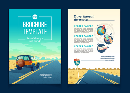 Vector brochure template with desert landscape. Travel concept with SUV on asphalt way to canyon, wasteland. Booklet with website link, tourist poster. Voyage background with clouds and road sign.