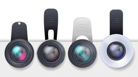 Vector realistic set of clip-on lenses for mobile devices, smartphones and tablets isolated on white background.