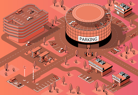 Vector 3d isometric territory for cars with multi-storey parking. Vehicles on round covered building, urban garages in orange colors, made in black thin lines. Area for auto, park with trees. Иллюстрация