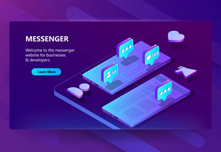 Vector 3d isometric template of site for messenger. Online chat business, development. Social service on smartphone for communication, messaging. Illustration in violet, ultraviolet color Foto de archivo - 124822283