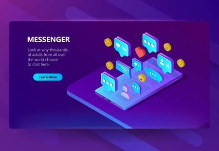 Vector 3d isometric template of site for messenger. Online chat for adults with emoji smiles. Social service on smartphone for communication, messaging. Illustration in violet, ultraviolet color Ilustrace