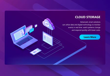 Cloud storage vector illustration of internet data sharing technology. Isometric user multimedia synchronization in computer or digital tablet and smartphone devices on purple ultra violet background