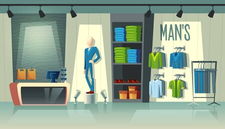 Vector mans clothing shop - wardrobe with suits, cartoon mannequin in costume and stuff on hangers. Cashbox with table inside boutique, dress collection. Male fashion store with illumination in mall 向量圖像