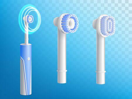 Vector 3d conjunto realista de cepillos de dientes, boquillas extraíbles para productos de higiene. Equipo de dentista, moderna tecnología eléctrica con ultrasonido. Setas de fibra, cerdas y chicle. Limpieza bucal, profilaxis
