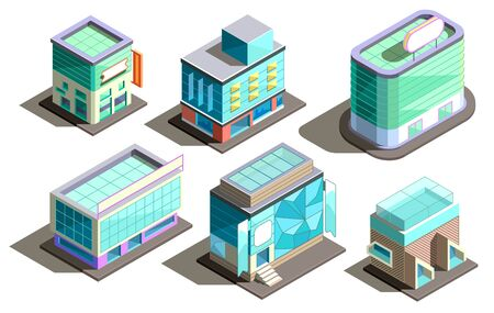 Vector set of isometric modern buildings in cartoon style. Collection of urban skyscrapers with glass elements. Town exterior, residential construction. Architecture, cityscape collection for design Illustration