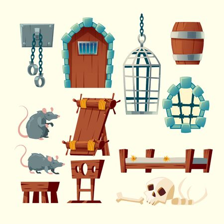 Vector cartoon set of medieval prison, torture objects - rack, shackles and metal hanging cage. Wooden bunks, barrel, pillory for punishment, window in jail and other elements isolated on white