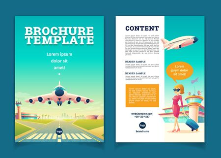 Vector brochure template with airplane takeoff. Travel or tourism concept, girl with baggage on leaflet. Booklet with contacts, tourist poster. Voyage background with aircraft on a landing strip.