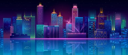 Vector modern megapolis at night. Illumination of bright glowing buildings in cartoon style. Urban skyscrapers in neon colors, town exterior, architecture background. Residential construction.
