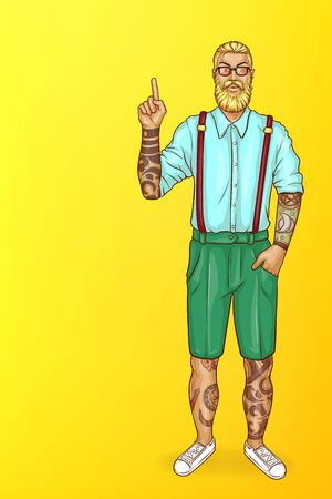 Vector pop art blonde haired man with beard, in blue shirt, green shorts and glasses. Guy with tattoos points with finger at sales, discounts. Character isolated on yellow background for poster