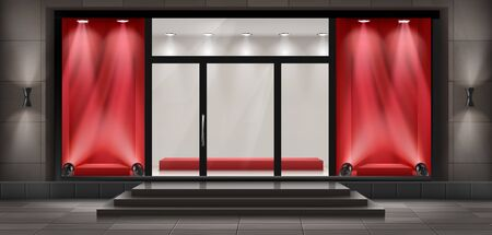 Vector concept background, boutique shop facade with signboard. Storefront with brick wall, entrance with large glass door and empty illuminated red showcases. Template of building exterior