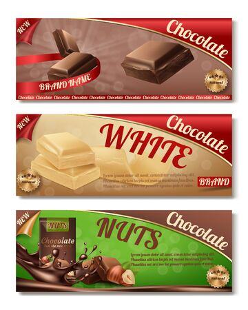 Vector 3d realistic collection of chocolate packaging. Horizontal labels of tasty product with nuts, white milk sweetness. Design of boxes, brand illustration for ad posters, promo banners. Illustration