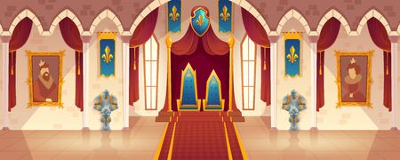 Vector castle hall with two thrones for king and queen. Interior of ballroom with guards in knight armor for royal family. Medieval palace with flags. Fantasy, fairy tale or game background. Illustration