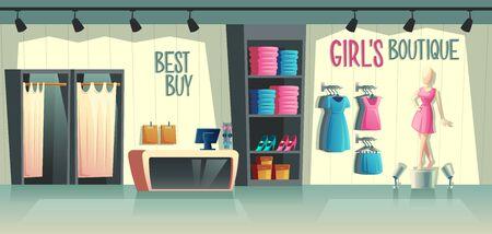 Boutique di ragazze di vettore. Interno del negozio di abbigliamento femminile - guardaroba con vestiti, manichino dei cartoni animati in abito e roba sui ganci. Cassa con tavolo, negozio di moda con illuminazione in un centro commerciale.