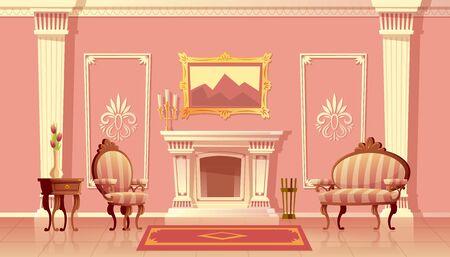 Ilustración de dibujos animados de vector de sala de estar de lujo con chimenea, salón de baile o pasillo con pilastras en el palacio real. Interior rico con muebles de estilo barroco o rococó. Fondo del juego de cuento de hadas