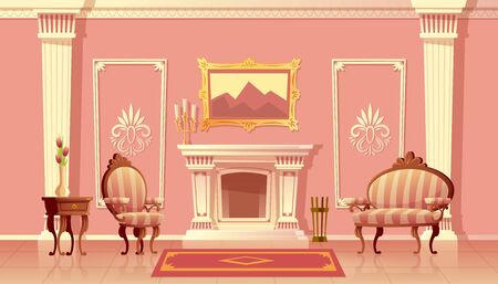 Vector cartoon illustration of luxury living room with fireplace, ballroom or hallway with pilasters in royal palace. Rich interior with furniture in baroque or rococo style. Fairytale game background
